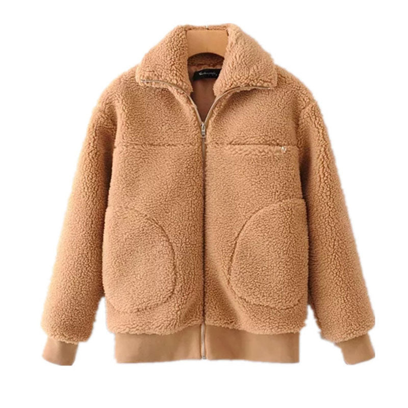 Stand-up collar zipper slim-fit padded teddy wool jacket