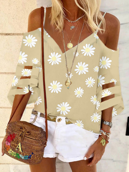 Summer daisy off-shoulder shirt