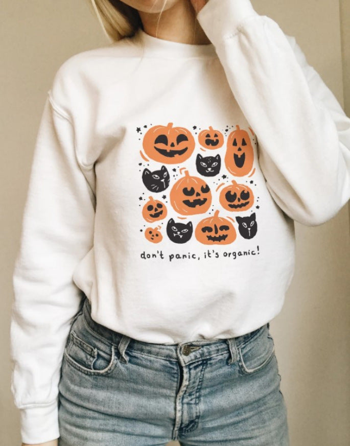 INS Halloween Striped Pumpkin Print Hoodie