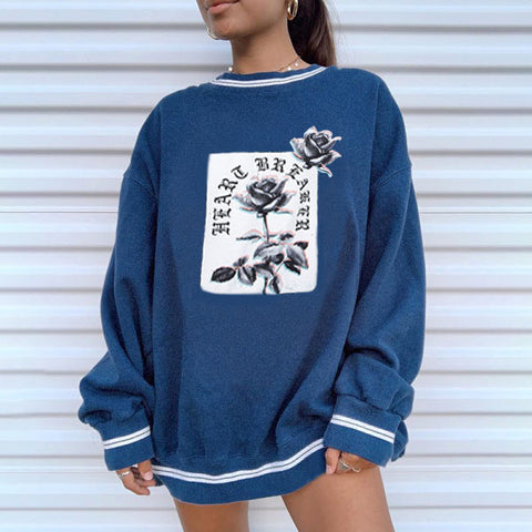 Vintage Print Long Sleeve Sweatershirts