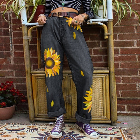 Fashion - black grey jeans printed wash chrysanthemum sunflower denim trousers