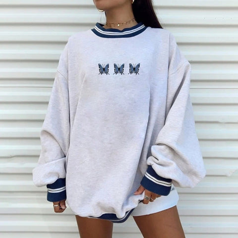 Casual fashion round neck long sleeve loose sweater European style wq42