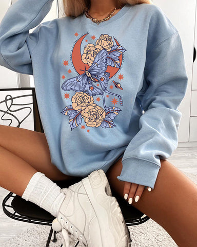Butterfly print retro basic loose long sleeve sweatshirt