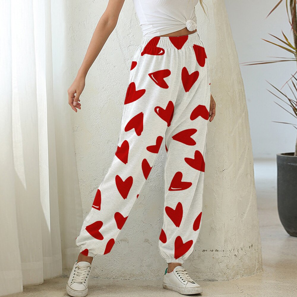 Women's Heart Print Casual Pants WZWZ10452001