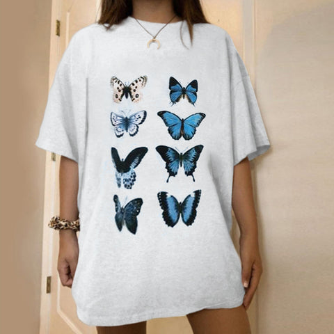 Casual Short Sleeve Butterfly Printed T-shirt