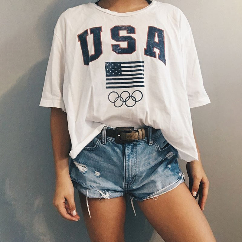 Casual loose short sleeve letter T-shirt