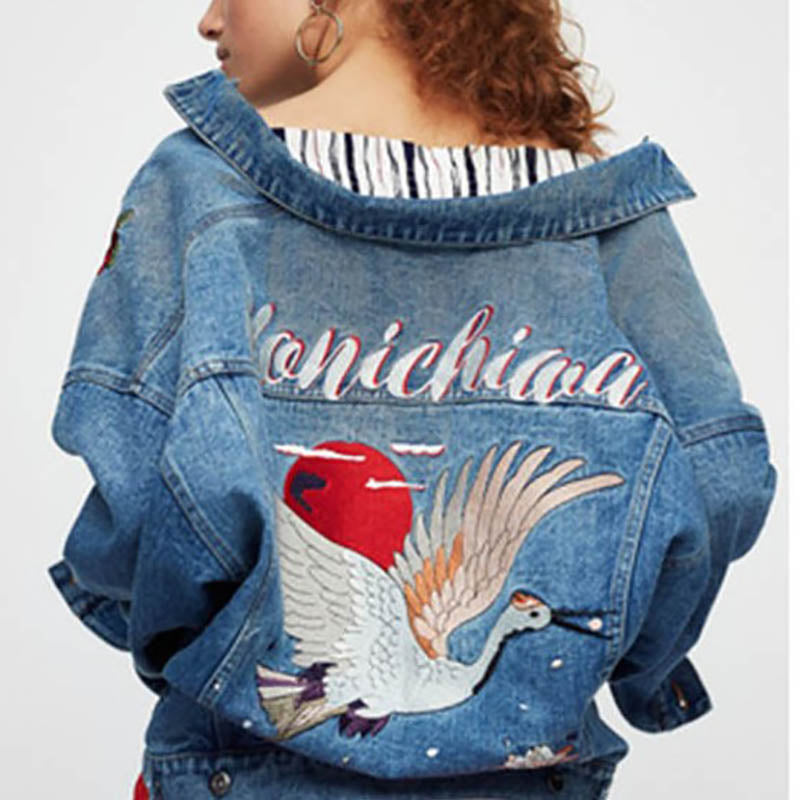 Chrisitina™ Konichiwa Denim Jacket With Flying Crane Print On Back