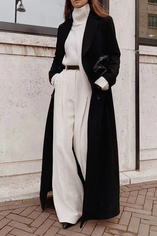 Loose solid color long sleeve long coat