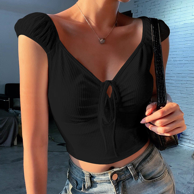 Solid color pit strip deep V straps exposed navel sexy vest