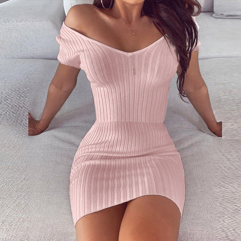 Solid Color Knit Bodycon Dresses