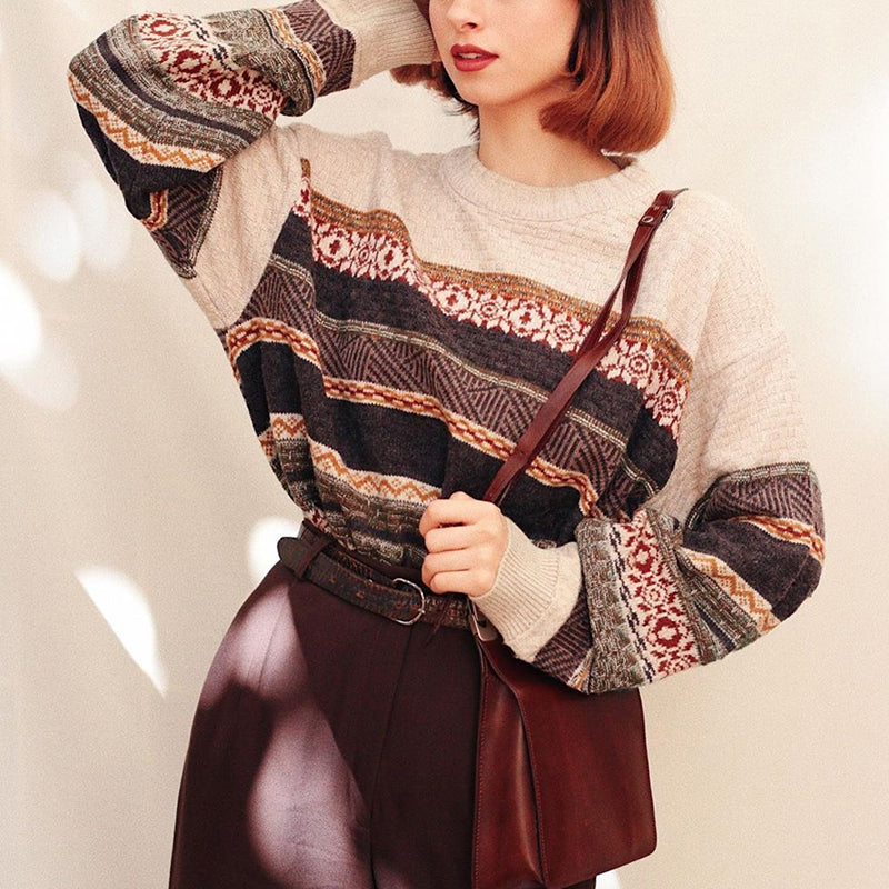 Vintage Casual Long Sleeve Knitted Sweater
