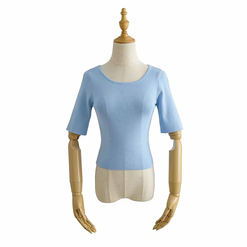 Knitted ice linen short sleeve slim round neck simple solid color T-shirt