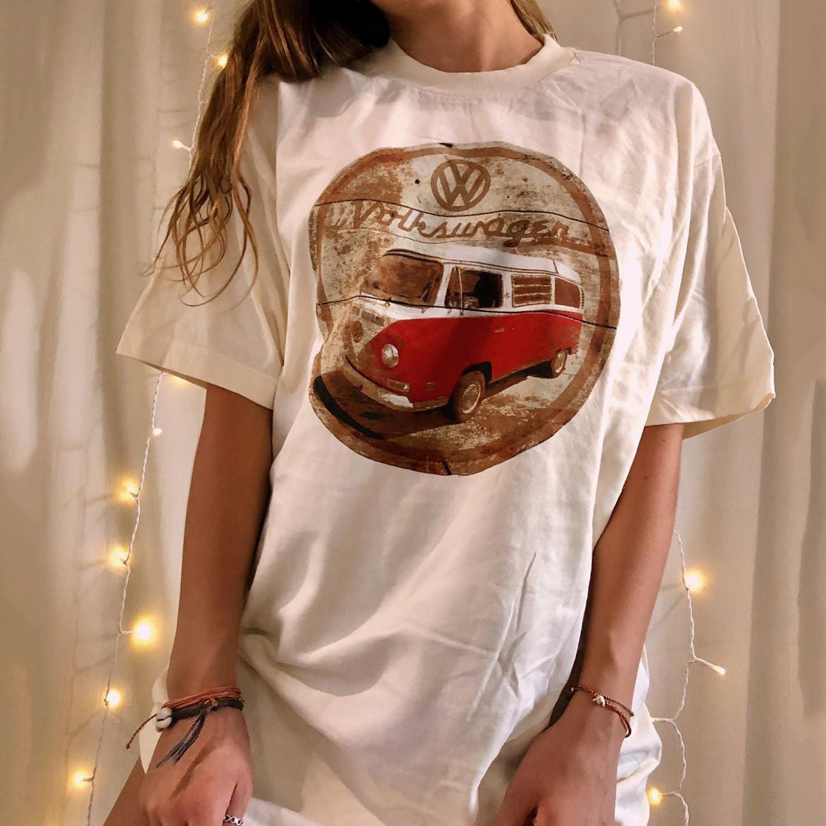 Womens casual bus printed short-sleeved T-shirt
