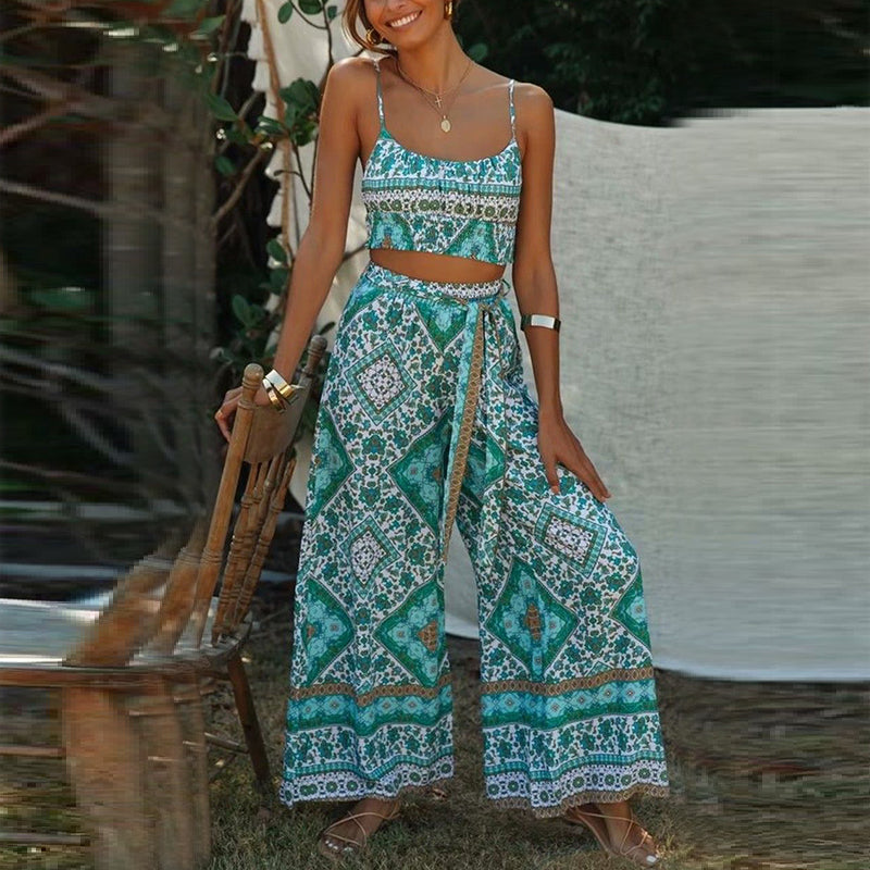 Bohemian printed long two-piece suit jumpsuit