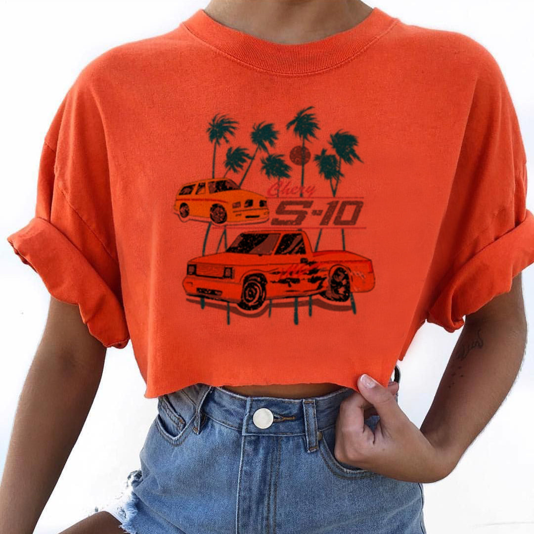 Women's Casual Car Print Short Sleeve Short T-Shirt
