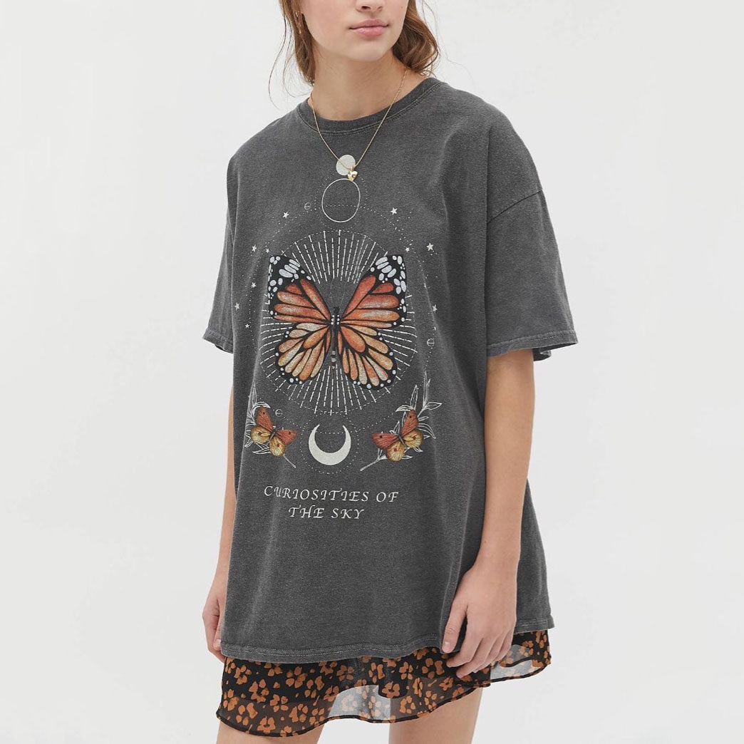 Casual Butterfly Printed Short Sleeve T-shirts
