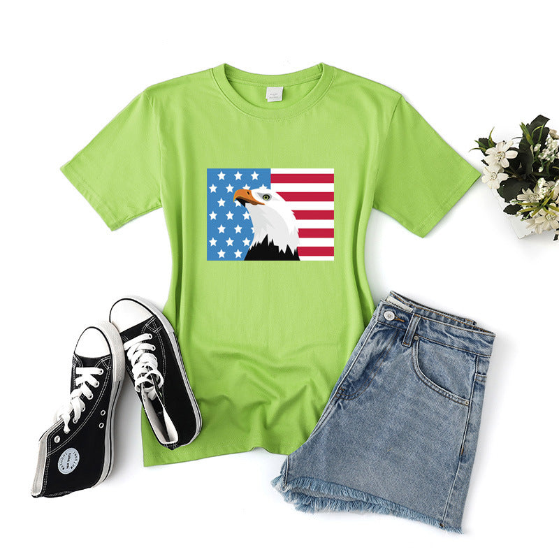 Casual Cotton American Independence Short Sleeve T-shirt