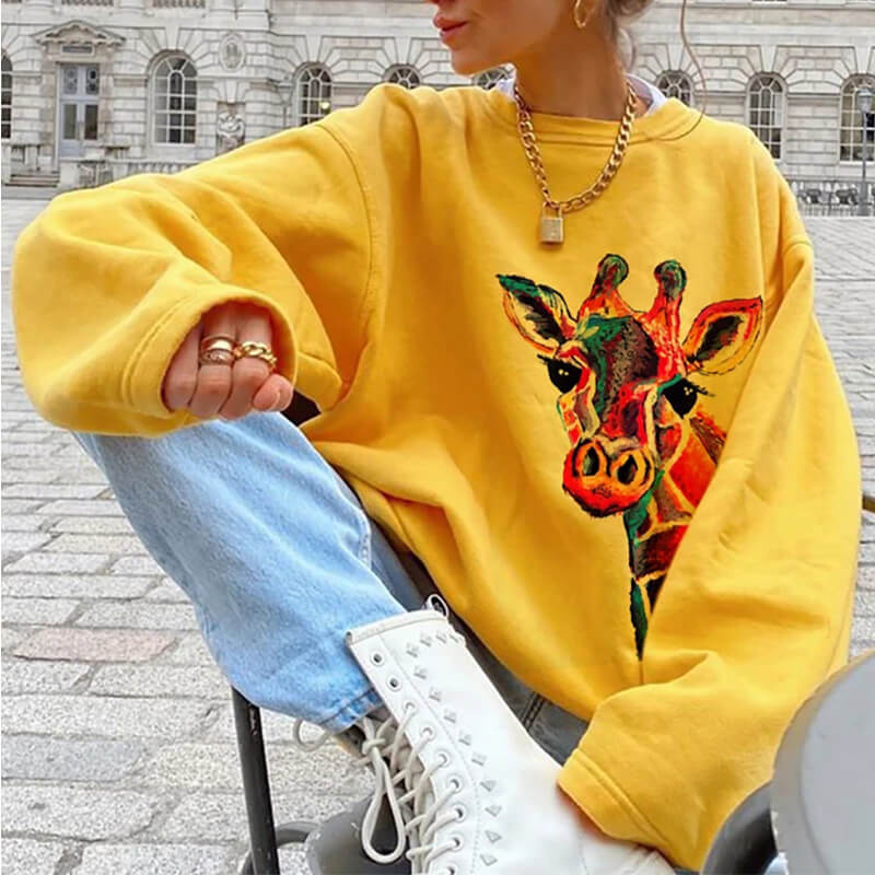 Ladies Oversized Sweatshirt Fun Fawn Print Sweatshirt