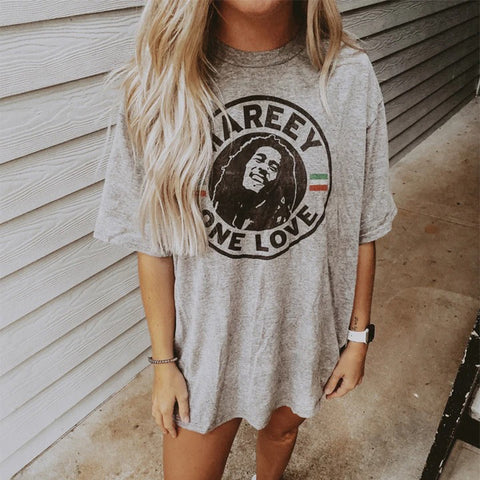 Casual Round Neck Short Sleeve Printed T-shirt