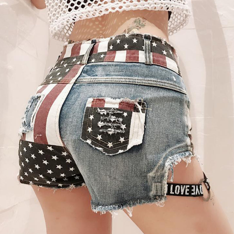 Sexy high-waisted printed ripped shorts