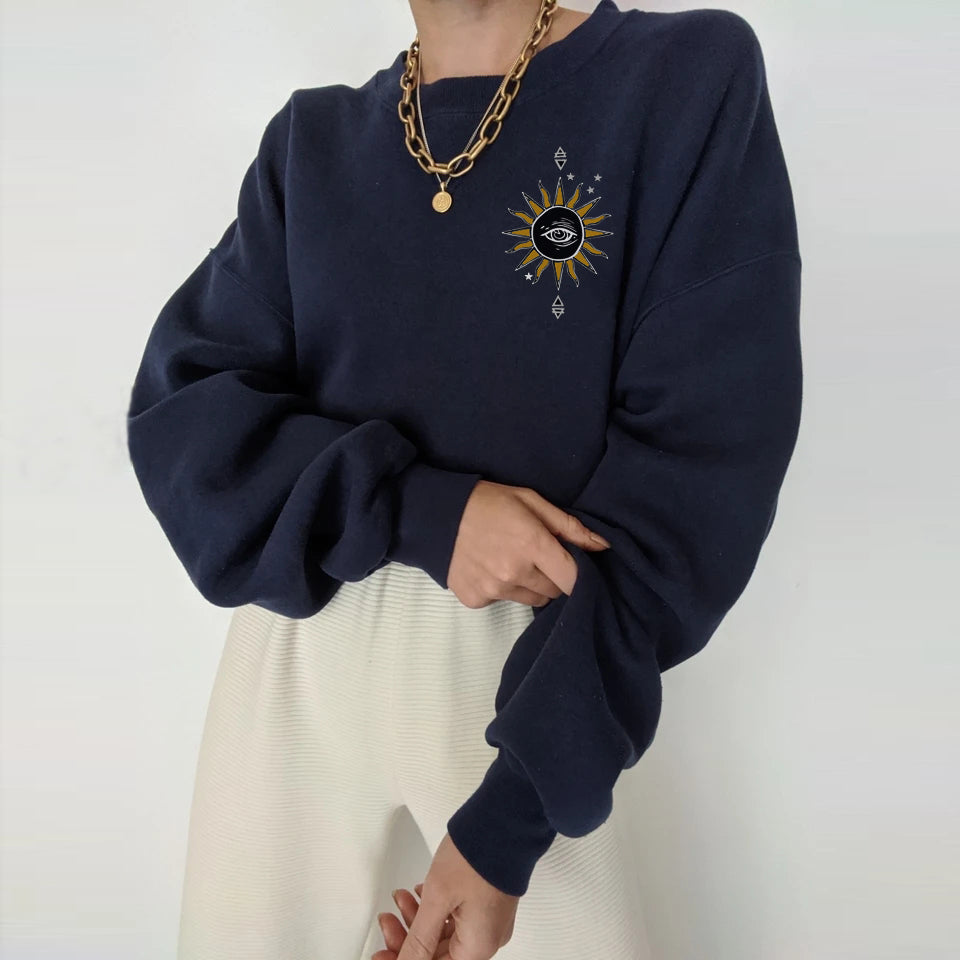 Eye of life print all-match casual loose sweatshirt