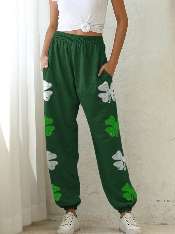 Women's Four-Leaf Clover Printed Casual Pants