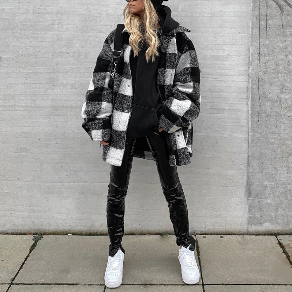 Fashion long-sleeved plaid coat