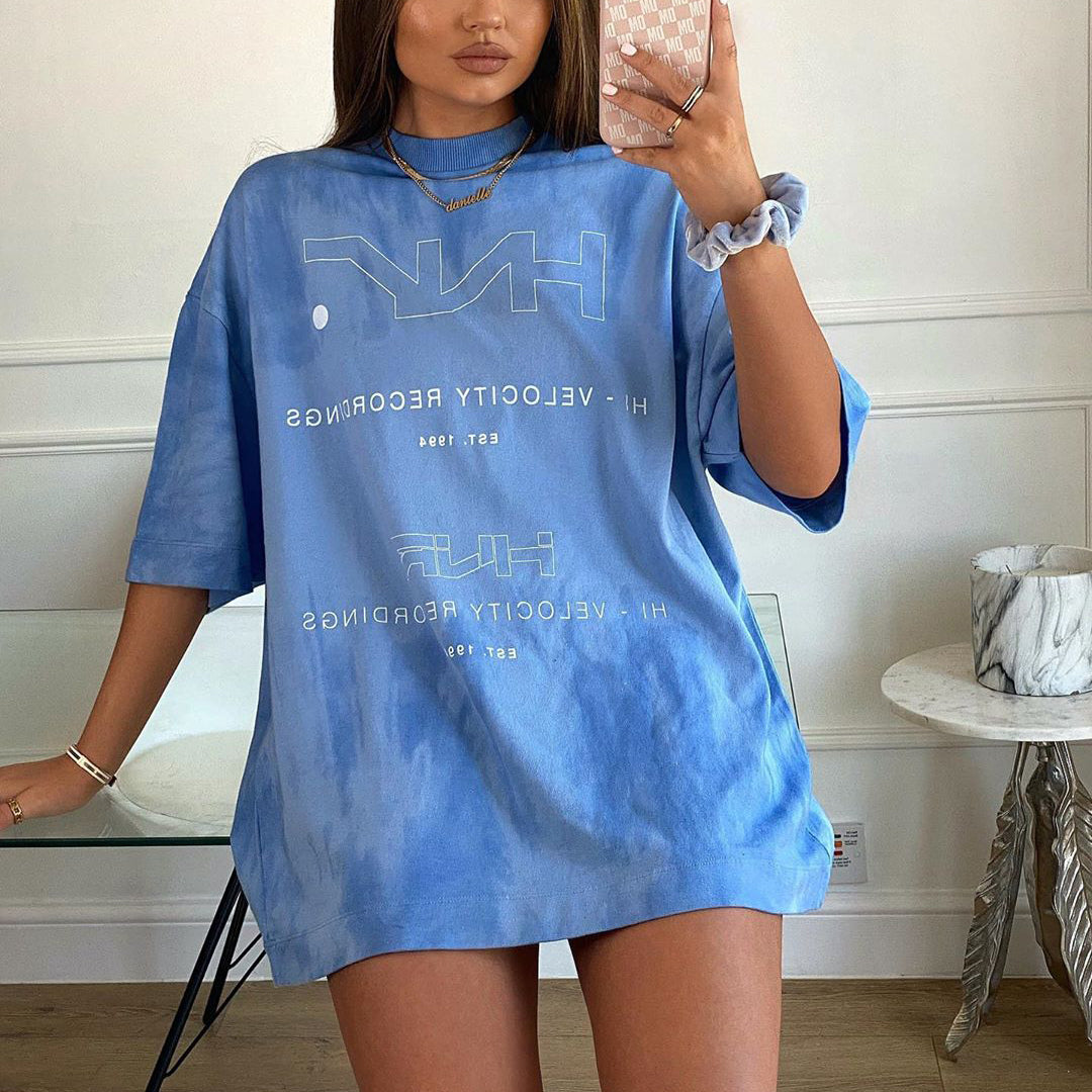 Solid Color Fashion Printed Loose T-shirt