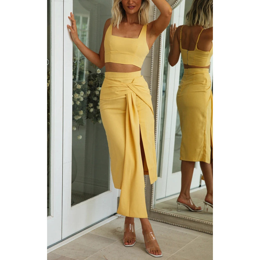 Knotted strap suit skirt