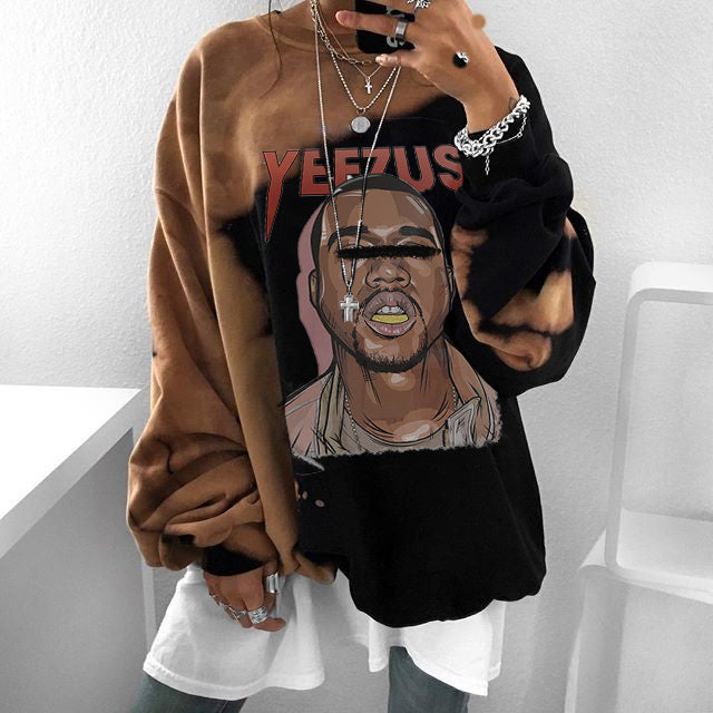 Vintage printed long-sleeved sweatshirt