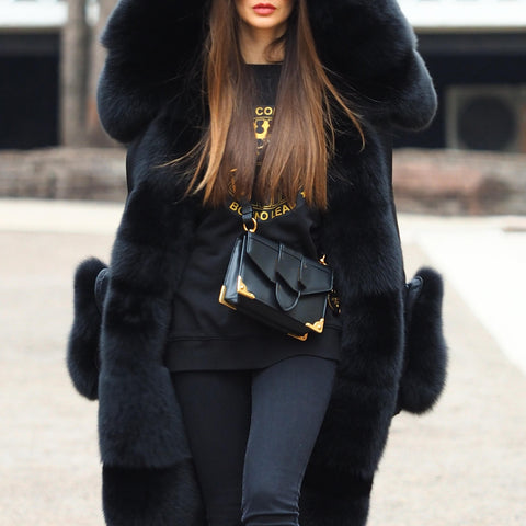 Fashion fur patchwork jacket