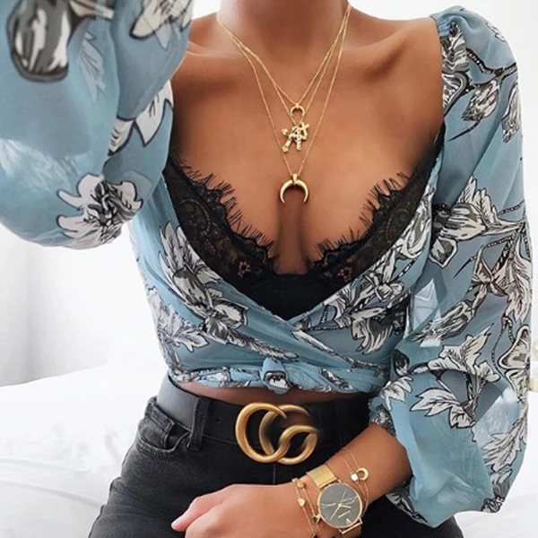 Fashionable silk vintage print top