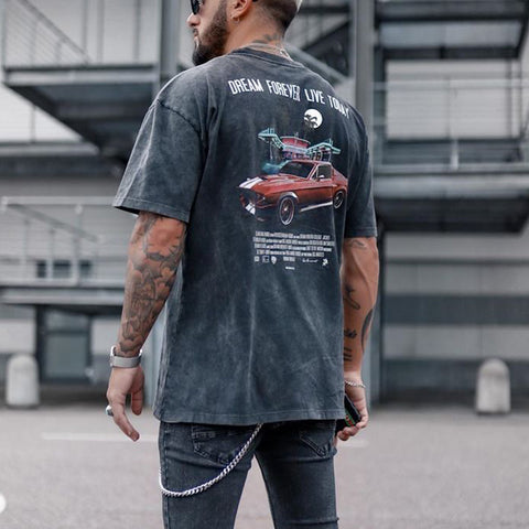 Mens Vintage round neck printed short-sleeved t-shirts