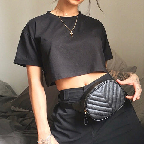 Fashion - women's new basic loose-fitting T-shirt with a slim crop top