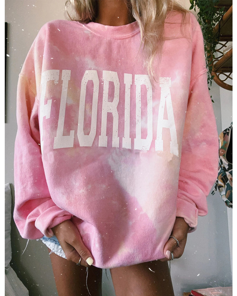 Fashion pink letter print women's sweater