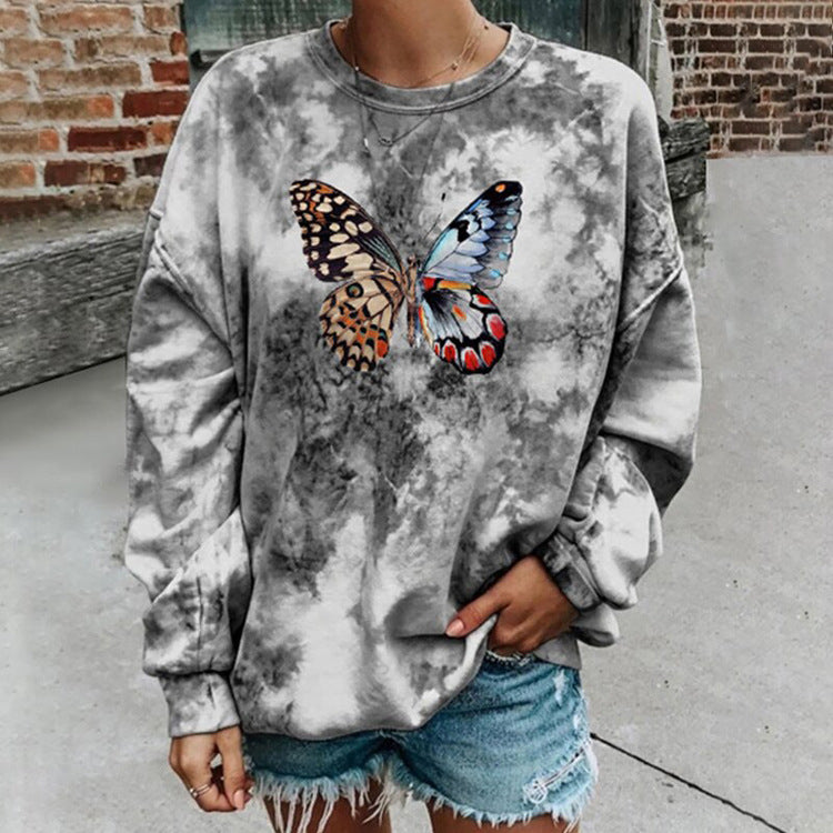 Women's casual round neck loose long sleeve print hoodie wq42