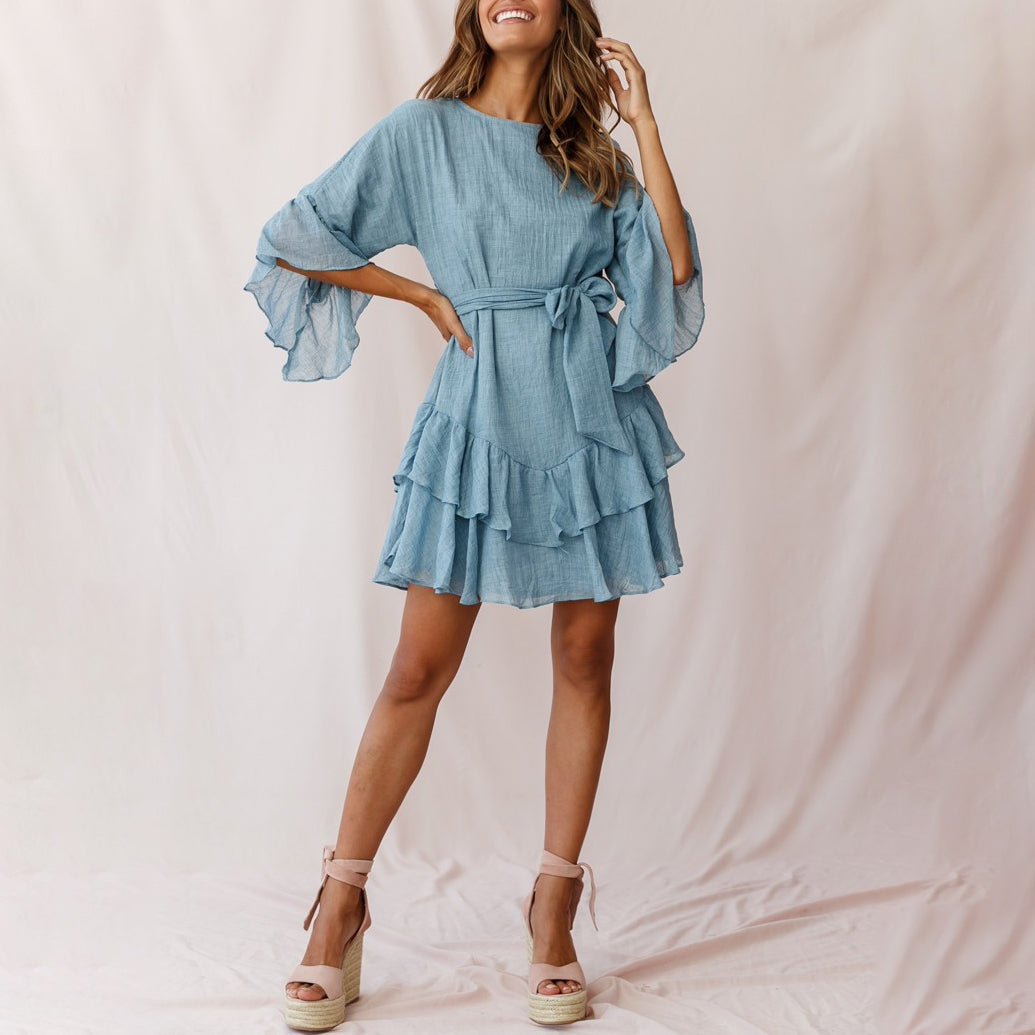 Blue ruffled dress for ladies wq36
