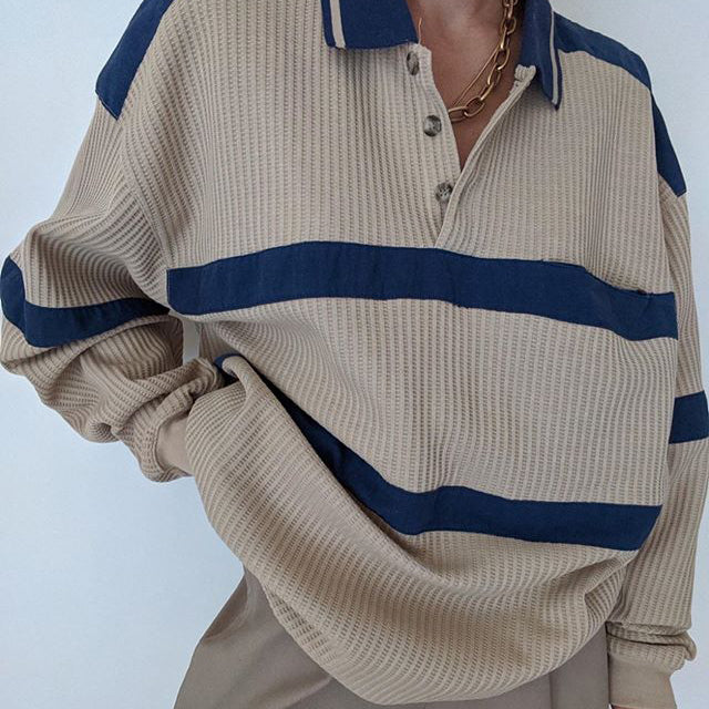 Striped all-match casual hoodie