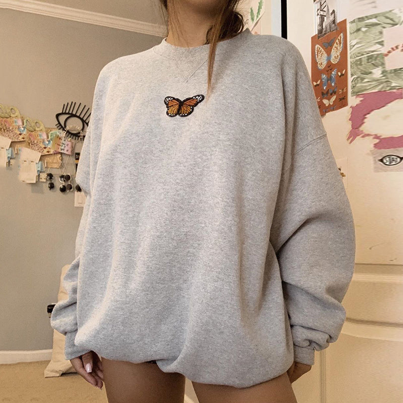 Casual Round Neck Butterfly Loose Sweatshirt