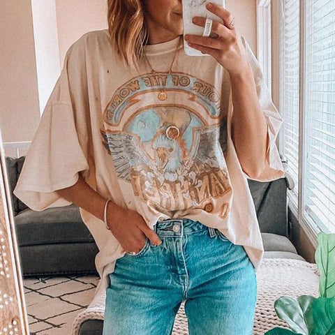 Printed loose vintage fashion T-shirt