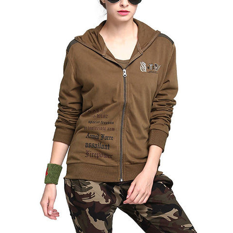 Womens outdoor tactical hooded jacket