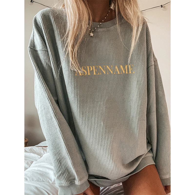Casual Solid Printed Long-sleeved Sweatershirt