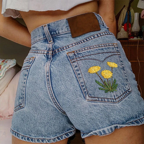 Casual Floral Embroidered Denim Shorts