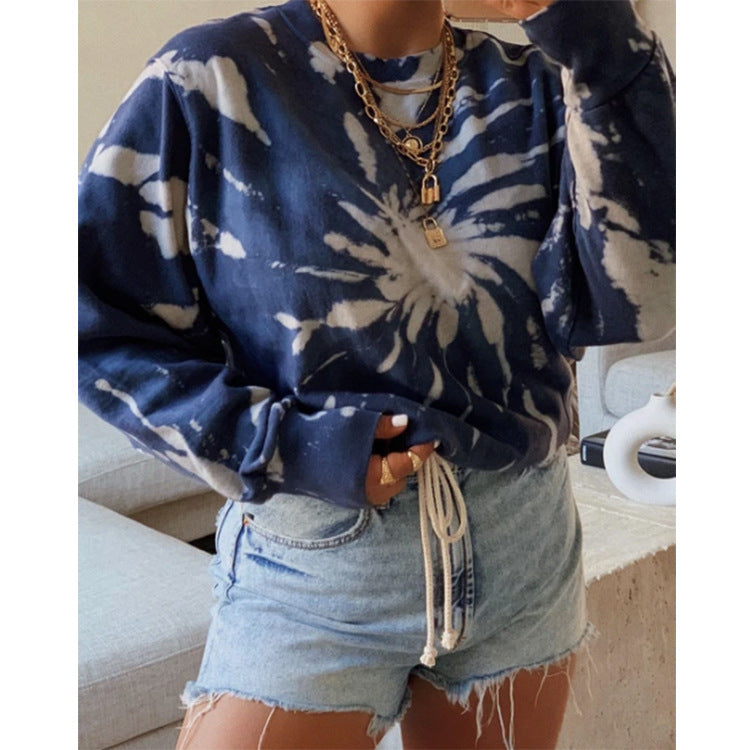 Women's printed long-sleeved round neck T-shirt sweater wq42