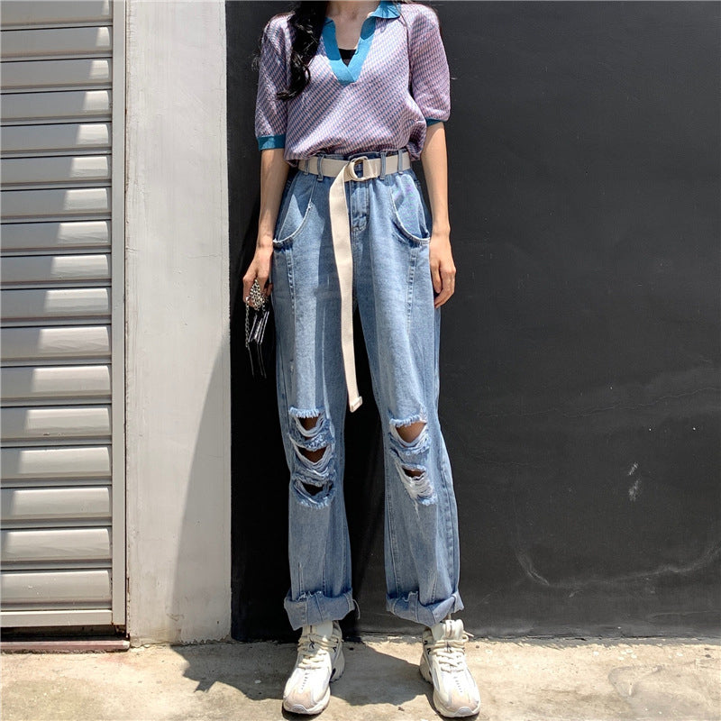 Casual Loose-fitting Straight-leg Jean