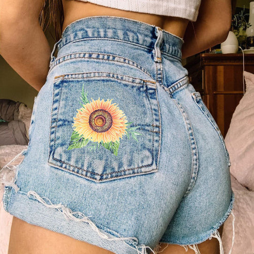 Summer denim printed hot pants