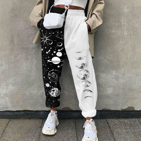 Fun Universe Print Sports Casual Pants