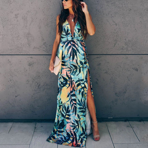 Maternity Print Deep V-Back Maxi Dress