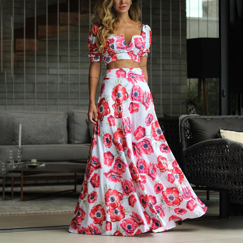 Women's Short-sleeved Fashion Flower Print Suit Skirt