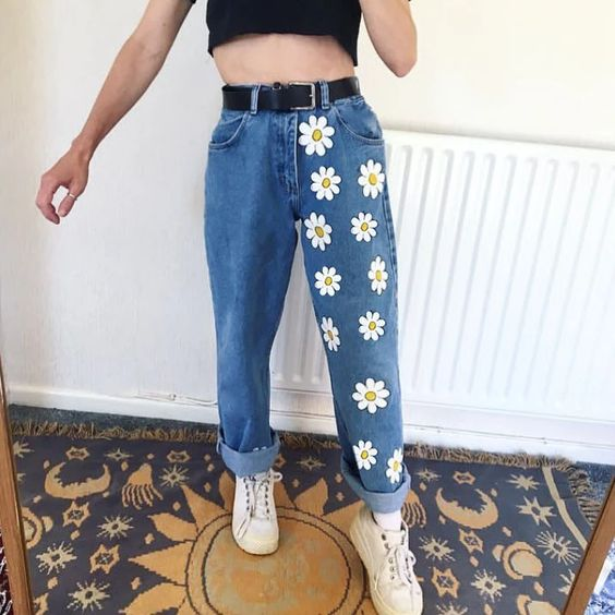 Super Cute Daisy Printed Loose Fitting Jeans